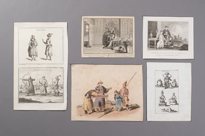Lot 476 - A GROUP OF FIVE EPHEMERA WITH CHINESE SCENES