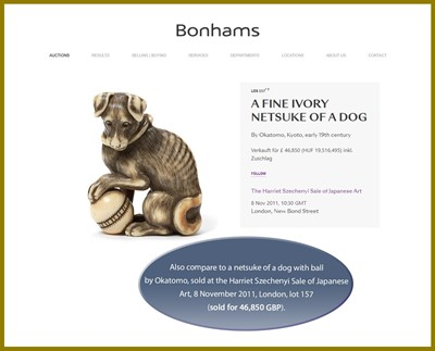 Lot 53 - A SUPERB IVORY NETSUKE OF A FEMALE DOG WITH YOUNG, ATTRIBUTED TO OKATOMO