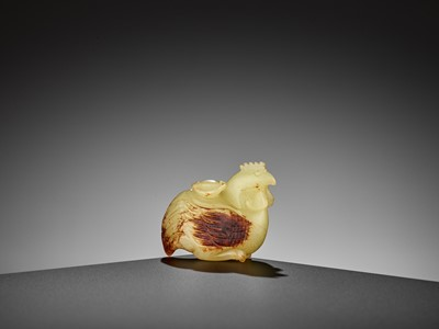 Lot 88 - A YELLOW AND RUSSET JADE FIGURE OF A CHICKEN, EARLY QING DYNASTY