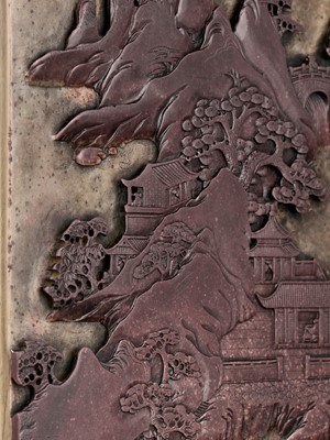 Lot 44 - A DUAN STONE 'LANDSCAPE AND POEM' TABLE SCREEN, QING DYNASTY