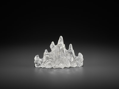 Lot 35 - A ROCK CRYSTAL 'MOUNTAIN' BRUSH REST, QING DYNASTY