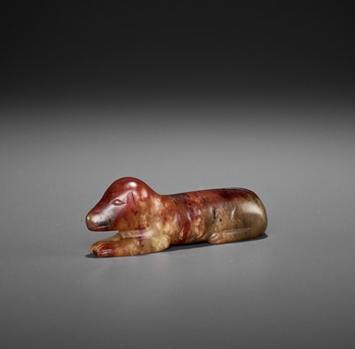 Lot 78 - A JADE FIGURE OF A RECUMBENT DOG, SONG DYNASTY