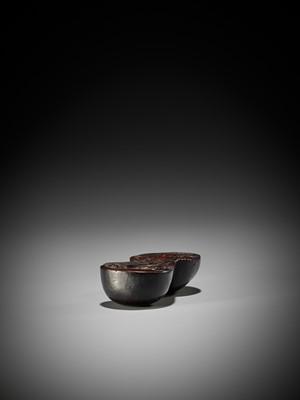 Lot 7 - AN UNUSUAL AND LARGE WOOD NETSUKE OF A MUSHROOM AND SHOJO