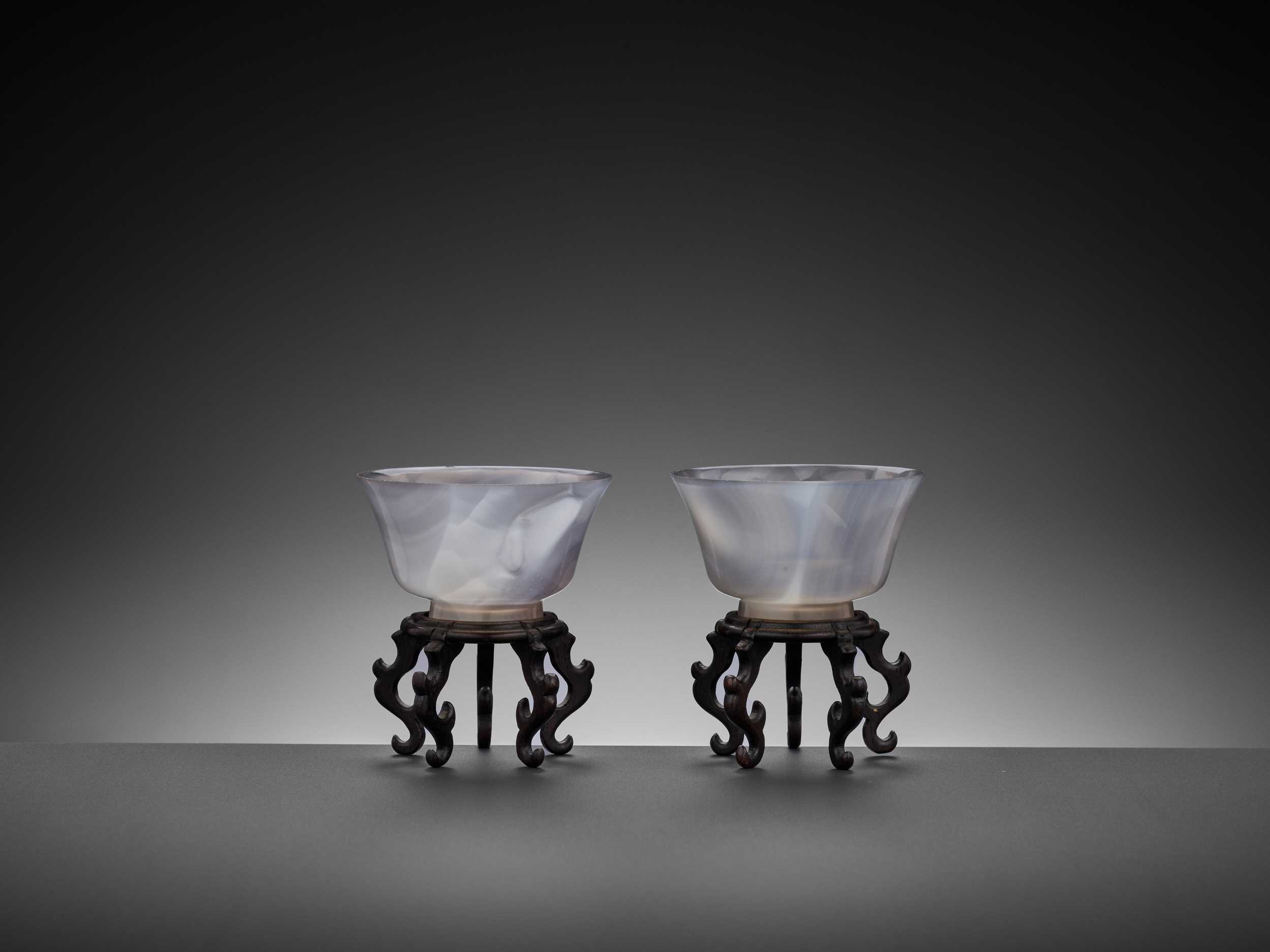 Lot 36 - A PAIR OF AGATE CUPS, QING DYNASTY