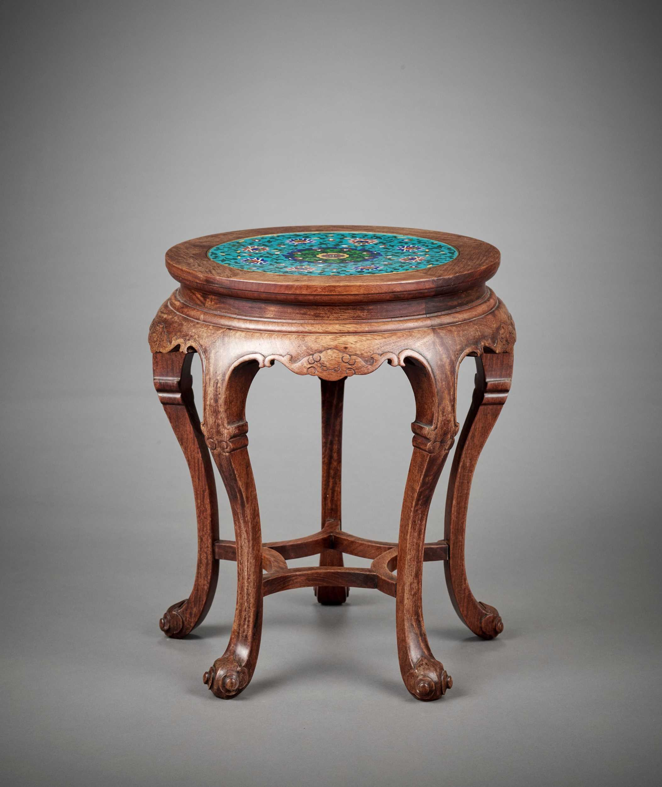 Lot 15 - A CLOISONNÉ ENAMEL-INSET HARDWOOD STAND, LATE QING TO REPUBLIC