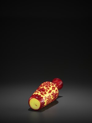 Lot 19 - A RED-OVERLAY YELLOW GLASS 'BAJIXIANG' VASE, MID-QING