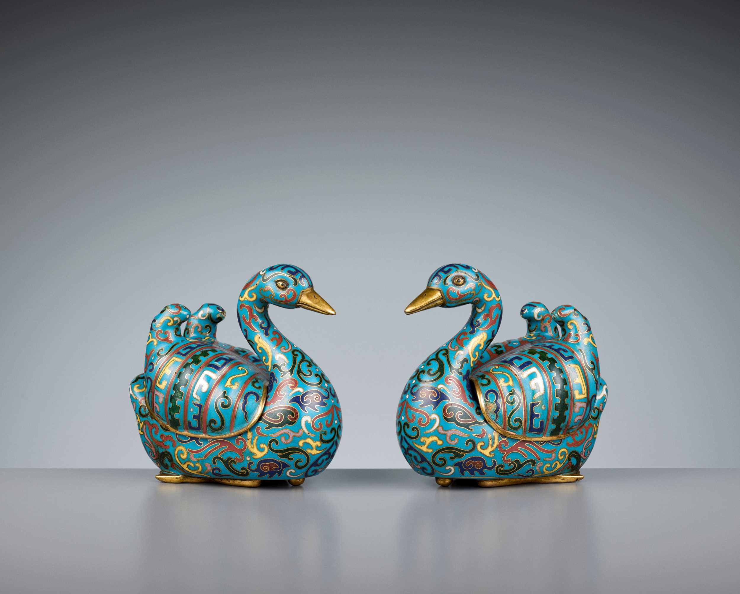 Lot 14 - A PAIR OF GILT-BRONZE CLOISONNÉ ENAMEL 'DUCK' CENSER AND COVERS, LATE QING DYNASTY