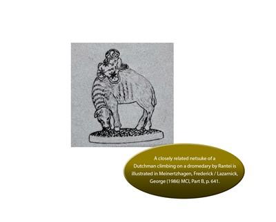 Lot 46 - RANTEI: A RARE IVORY NETSUKE OF A DUTCHMAN FEEDING A DROMEDARY