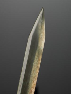 Lot 71 - A SPINACH-GREEN JADE GE BLADE, EARLY WESTERN ZHOU DYNASTY