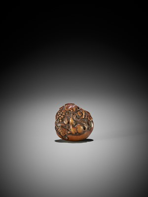 Lot 30 - A SUPERB WOOD MANJU NETSUKE OF SQUIRREL WITH GRAPES