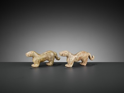 Lot 70 - A PAIR OF ALTERED SERPENTINE ARCHAISTIC 'TIGER' TALLIES, HU-FU, QING DYNASTY OR EARLIER
