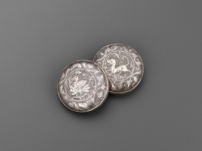 Lot 22 - A 'MANDARIN DUCK' SILVER BOX AND COVER, TANG DYNASTY