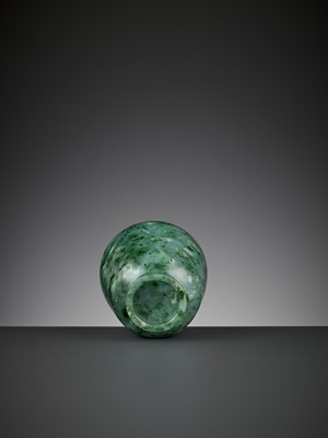 Lot 93 - A SPINACH-GREEN 'FERN FROST' JADE CUP, QING DYNASTY