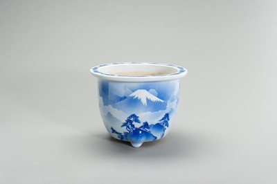 Lot 159 - A BLUE AND WHITE PORCELAIN JARDINIERE WITH MOUNT FUJI