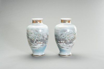 Lot 157 - A LARGE PAIR OF PORCLEAIN VASES WITH A WINTER SCENE