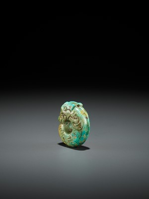 Lot 58 - A TURQUOISE MATRIX 'PIG-DRAGON' PENDANT, SHANG TO WESTERN ZHOU DYNASTY