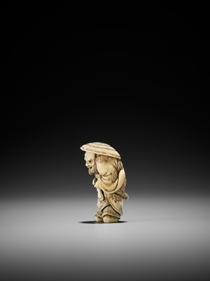 Lot 65 - HIDEMASA: A FINE IVORY NETSUKE OF SHOKI