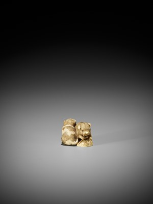 Lot 54 - OKATOMO: AN IVORY NETSUKE OF TWO PUPPIES WITH AWABI