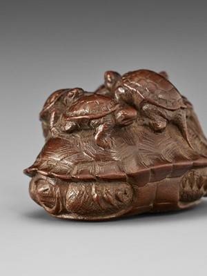 Lot 109 - TOMIN: A FINE WOOD NETSUKE OF A TORTOISE WITH FIVE YOUNG