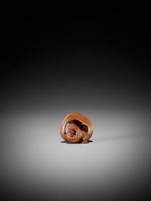 Lot 76 - KAIGYOKUDO MASATERU: A FINE STAINED WOOD NETSUKE OF THE SAMBIKI SARU