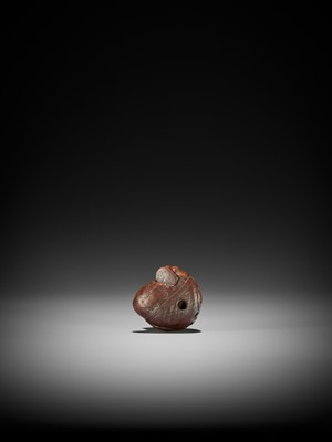 Lot 89 - MASAJO: A FINE WOOD NETSUKE OF A SLUMBERING SHOJO