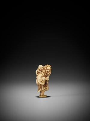 Lot 42 - OKAKOTO: A RARE MARINE IVORY NETSUKE OF A DUTCHMAN WITH CHILD